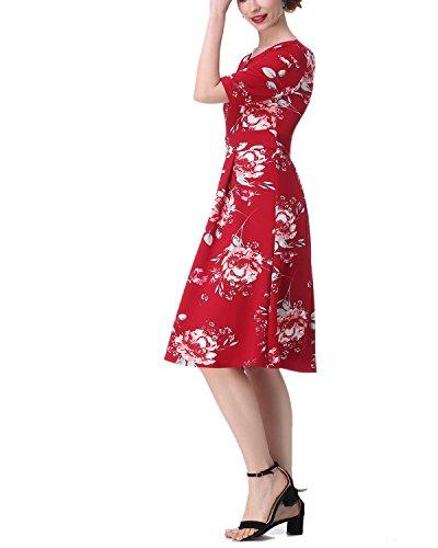 ZAFUL Robe Vintage Pin Up Années 50 Robe De Soirée Femmes Grande Taille Robe Floral Demi Manches Robe De Cocktail Swing Rouge