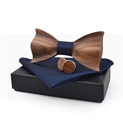 Yamyannie Klassische Krawatte 3D Relief Holz Fliege Anzüge Gitter Quadrate Manschettenknöpfe Freizeit Massivholz Grün Anzug Geschenk Box für Herren Anzug Deko blau