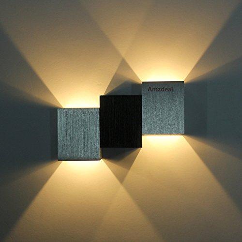 Amzdeal® Lampada da parete in alluminio spazzolat Lampada a risparmioLampada moderno da parete a LED Lampada da parete corridoio Lampada a energia (bianco caldo (1) 6w)