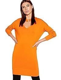 08f169bfbfddce Debenhams Star by Julien Macdonald Womens Burnt Orange Choker Neck Longline  Jumper
