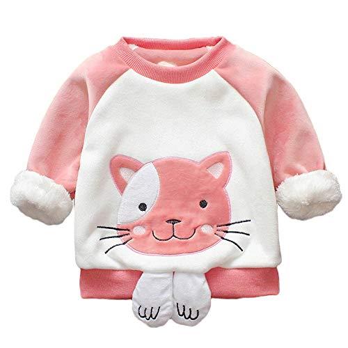 Yazidan Kleinkind Baby Kinder Mädchen Jungen Patchwork Langärmeliger Cartoon -Katzendruck Dicke Warme Pullover Sweatshirt Tops Kleidung \n