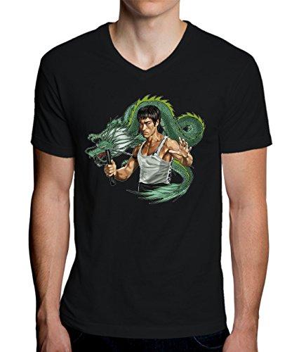 Bruce Lee With Dragon Design Men's V-Neck T-Shirt Medium -