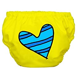 Charlie Banana Swim Diaper & Training Pant - Blue Petit Coeur on Yellow /Small