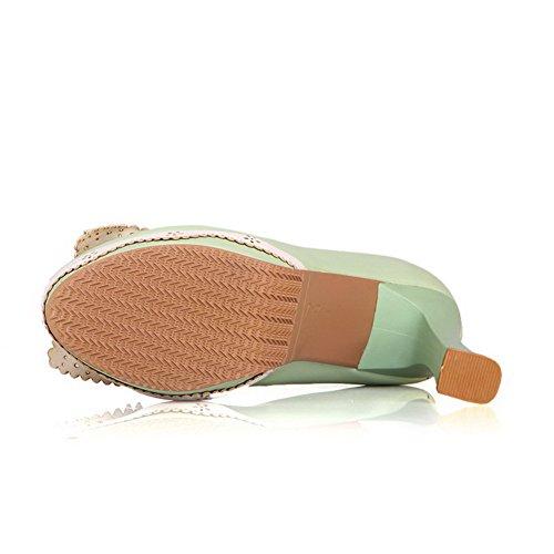 AgooLar Damen Ziehen Auf Hoher Absatz Pu Leder Gemischte Farbe Rund Zehe Pumps Schuhe Grün