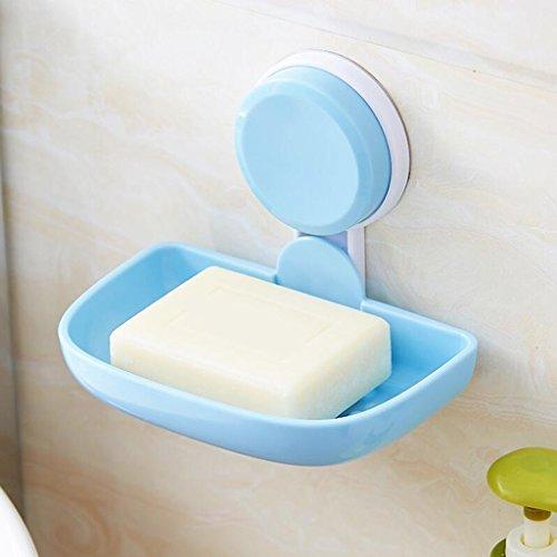 Xuan - Worth Having Titulaire de Savon de Salle de Bains Simple en Plastique Bleue de Tasse d'aspiration
