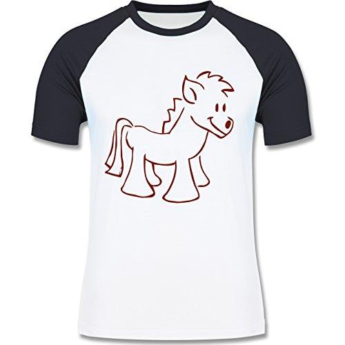 Pferde - Pony - zweifarbiges Baseballshirt für Männer Weiß/Navy Blau