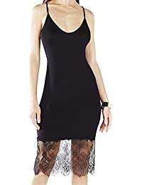 JOTHIN Damen Lace Stitching Schlank V-ausschnitt Harness Kleid Minikleid  Unterkleid-Form Shirt S M L 04e9ede29b