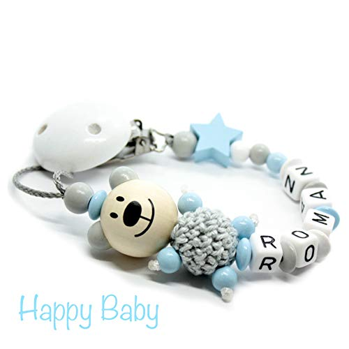 Schnullerkette mit Namen für Junge & Mädchen   VIELE INDIVIDUELLE MODELLE   Personalisierte Nuckelkette mit Wunschnamen (hellblau, bär, stern, grau)