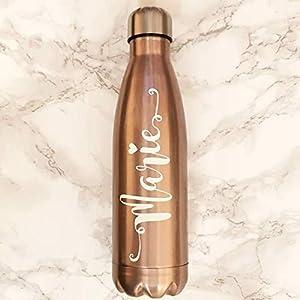 Roségold-Edelstahlwasserflasche mit personalisiertem Namen – Geschenk