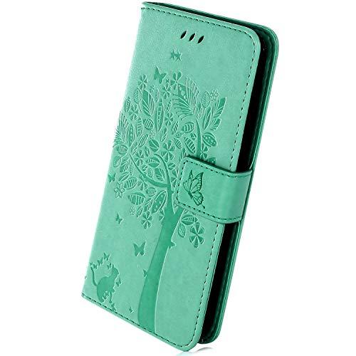 Herbests Kompatibel mit Huawei Mate 20 X Hülle Handyhülle Wallet Flip Case Cover Handy-Tasche Prägung Baum Katze Schmetterling Leder Hülle Tasche Schutzhülle Magnetisch Klapphülle, Grün