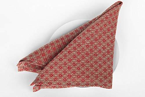 servietten 4er Set - Rot/Grau - Rautenmuster - Leinen/Baumwolle Mischgewebe - Tischservietten in Bulk 18x18 inches Red, Grey ()