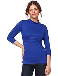 Happy Mama. Mujer top camiseta premamá y lactancia cuello alto doble capa. 987p