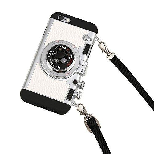 iPhone 8 Plus Hülle, iPhone 8 Plus süße Hülle, 3D Einzigartiges Design Kamerahülle PC + Silikon stoßfest Hybrid Cover Case mit langem Band Band, Silber - Elemente Charms Silber