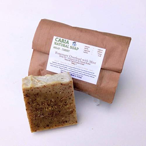 Seife Rosemary Mint (CARIA Rosmarin und Pfefferminze Shea Seifenstange mit Olivenöl Kakao und Shea Butter 100g)