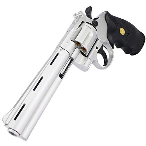 Softair Revolver Airsoft Pistole + Munition | G3-6S | 28cm. Inkl. Magazin & 0,5 Joule | + Ersatzhülsen -