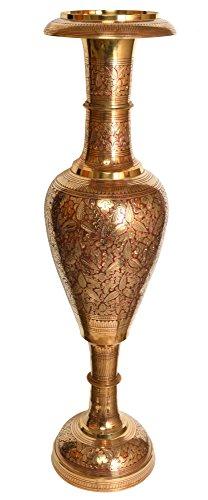 Exotic India Decorado jarrón–Estatua latón