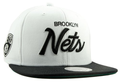 Mitchell & Ness - Casquette Snapback Homme Brooklyn Nets Throwback All White