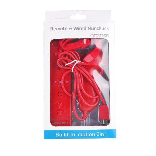 CITTATREND Wired Nunchuck + Wireless Remote Controller con Motion Plus Gamepad per Nintendo Wii Console Videogiochi 7 Colori (Rosso)