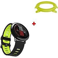Xiaomi Amazfit Watch Correa Accesorios, Zolimx Deporte Suave Pulsera de Silicona + Marco Caso Protector PC para Huami Amazfit Reloj Inteligente de Deportes
