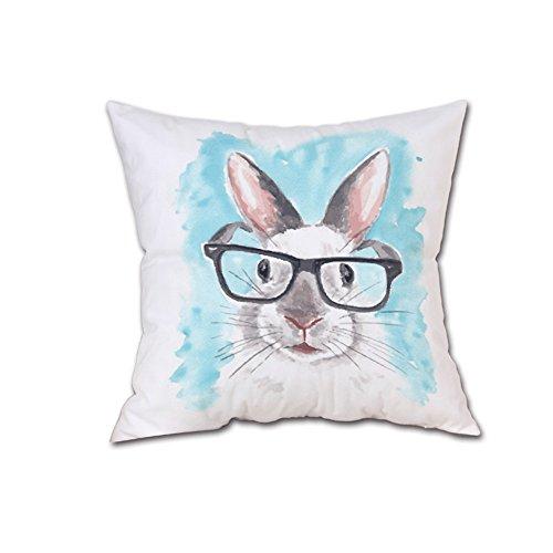 TEBAISE Kissenbezug 45 x 45 cm Tier Kaninchen kopfkissenbezüge Sofa Taille Lendenkissen Home Decor Karneval Weihnachten Fasching Fasnacht Zierkissen Zierkissenbezüge Zierkissenschutzbezüge