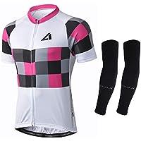 Alpediaa Hombres Maillot Ciclismo, Maillots de Bicicleta Conjunto de Jersey de Manga Corta Top MTB Jersey ESALJS073-pink-3