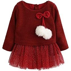 Vestidos Niña, K-youth® Bebe Niña Niños Manga Larga De Punto Arco Ropa Recién Nacido Niña Tutú Princesa Vestido Ropa Bebe Niña Invierno Vestidos (Rojo, 0-6 meses)