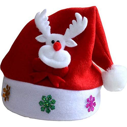 Skyeye 1*Stück Weihnachtsmütze Nikolaus-Mütze Xmas Mütze Wintermütze Der Hut der Weihnachtsapplique Karikatur Dekorativen Kinder Elch-Muster