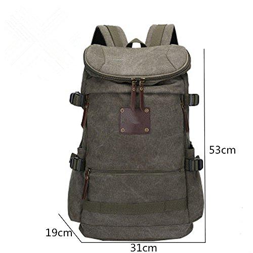 Wanderrucksack Rucksack Schulter Tasche große Kapazität Reisen Canvas Outdoor-Freizeit Computer Tasche Green