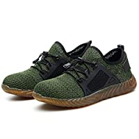 Safety Work Shoes Men Steel Toe Sneaker Industrial Construction Puncture Proof Shoes Lightweight Breathable Mesh Non-Slip Outdoor Sports Footwear (43, Green)