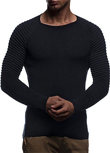 LEIF NELSON Herren Pullover Strickpullover Hoodie Basic Rundhals Crew Neck Sweatshirt langarm Sweater Feinstrick LN20729; Gr_¤e M, Schwarz