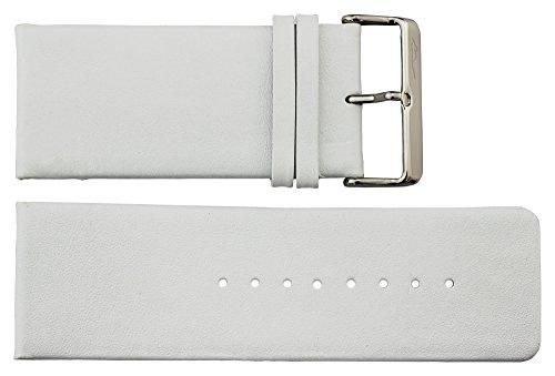 Moog Paris Weiß Kalbsleder Uhrenarmband, Dornschließe, 34mm Uhrenarmband B34014 (34 Omega-uhr)