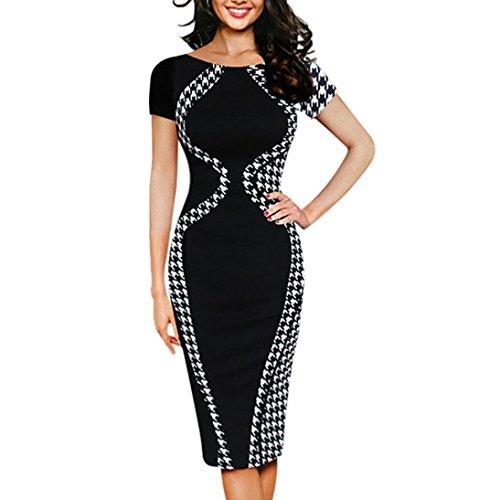 Kurzarm-kaftan (Kleider Damen LUVERSCO Mode Damen  Bodycon Kurzarm Party Reizvolle Geschäft Stil Bleistift Minikleid (Schwarz, 2XL))