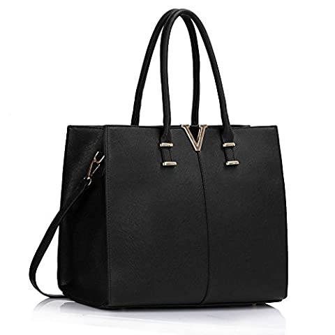 Ladies Large Fashion Designer Celebrity Tote Bags Women's Quality Hot Selling Trendy Handbags CWS00319B CWS00319C CWS00319 (Black V)