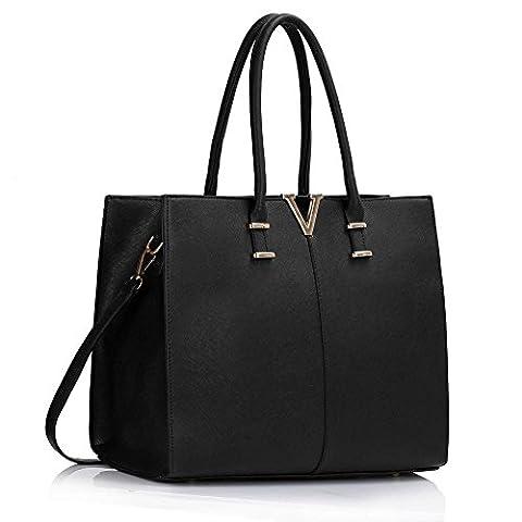 LeahWard® Damen Groß Mode Essener Berühmtheit Tragetaschen Damen Qualität Schnell verkaufend Modisch Handtaschen CWS00319B CWS00319C CWS00319 (Schwarz V)