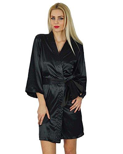 Bimba femmes courte satiné Préparation Robe de demoiselle d'honneur manches kimono Coverup Noir