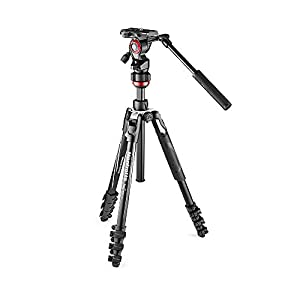 Manfrotto Befree Live Lever Lock Lightweight Aluminium Travel Tripod with MVH400AH Fluid Head for DSLR, Mirrorless, Compact and Video Cameras up to 4 kg MVKBFRL-LIVE