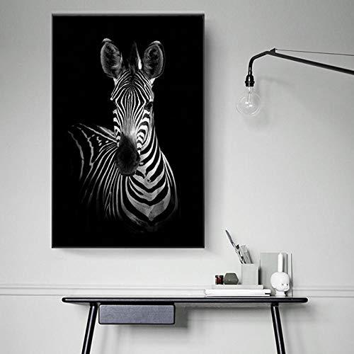 Cyalla Leinwand Kunstdruck Malerei Poster Kunst Zebra Schwarz Weiß Tier Moderne Wandbilder Für Wohnzimmer Wohnkultur Große Größe 60X90 cm (Schwarz Halloween-nagel-kunst Weiß Und)