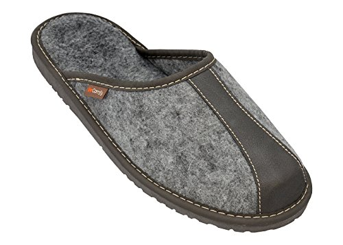 BeComfy Herren Filzpantoffeln Hausschuhe Pantoffel Filz Gummisohle Neue Designs Grau Schwarz (43, MZ18-Grau Band mit Profilierter Einlage)