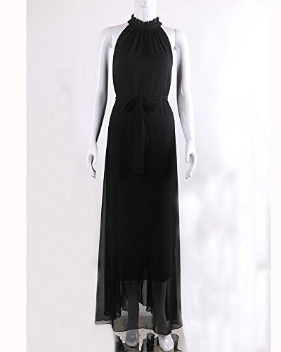 Damen Chiffonkleid Neckholder Cocktailkleid Abendkleid Sommer Rückenfrei Maxi Kleider Lange Vintage Kleider Schwarz