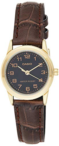 CASIO Damen Analog Quarz Uhr mit Leder Armband LTP-V001GL-1