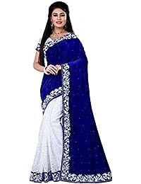 Modern Style Velvet & Net Saree With Blouse (Blue & White_Free Size)