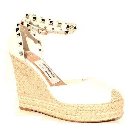 Trendige Damen Riemchen Keil Sandaletten Pumps Keilabsatz Wedges High Heels Schuhe Bequem KA2 Weiß