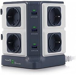 BESTEK Regleta Vertical, 8 Tomas y 6 Puertas USB Individuales, protección contra sobretensiones 1500J y protección contra Rayos 3600W
