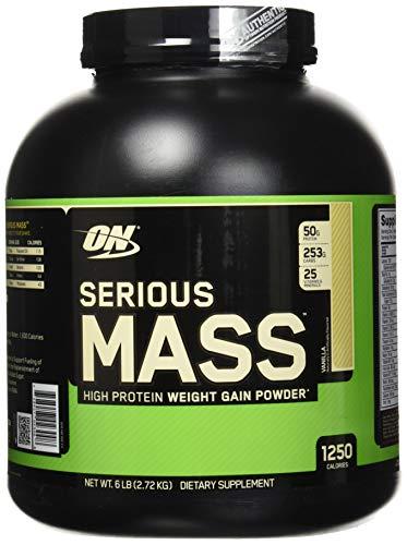 OPTIMUM NUTRITION Serious Mass 8 Porzioni con Proteine Whey Polvere per Aumentare la Massa Muscolare 2.72 kg Vaniglia