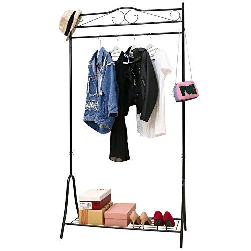 HOMFA Kleiderständer Kleiderstange Garderobenständer mit Schuhablage Schwarz Metall Antik 90*44*176cm (Schwarz) - Antik Weiß Metall Bett