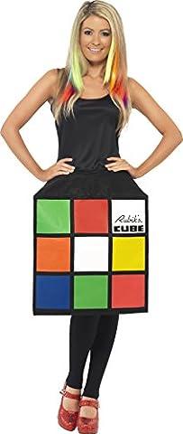 Smiffys Déguisement Femme Rubik's Cube, Robe cube 3D, Taille 36-38, Couleur: Multicolore, 39170S