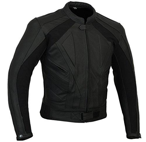 Misano Sports Bike Track Day Matt Schwarz Leder Motorrad-Jacke schwarz schwarz (Leder Ausgestattet Jacke)