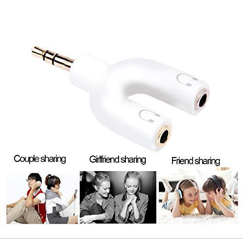 NUONA Headset Audio-Stereo-Splitter-Kit,U-Form 3-polig 3,5 mm Klinke auf 2 Kopfhörer + U-Form 4 Pin Adapter 2 3.5mm 4 Pin-Kopfhörer mit Mikrofon für Handys,Computer,MP3,Tablet (Weiß) -