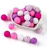 Silikonperlen Schnullerkette Selber Machen Baby Spielzeug Zahnen Silikon Perlen Beißring Diy Silikon-Perlen-Kit DIY-Dummy-Clips Kinderkrankheiten Halskette Armband (lila)