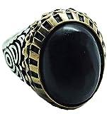 manufactuter SilveringJewelry Damen-Siegelring Oval aus 925er Sterling Silber und Catone aus Messing mit Naturstein Onyx, verstellbar Geometrische Muster verstellbar